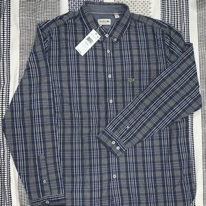 Lacoste Blue Plaid XL Never Worn Button Down